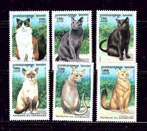 Cambodia 1818-23 MNH 1999 Cats