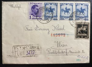 1940 Timisoara Romania Censored Registered Cover To Vienna Austria