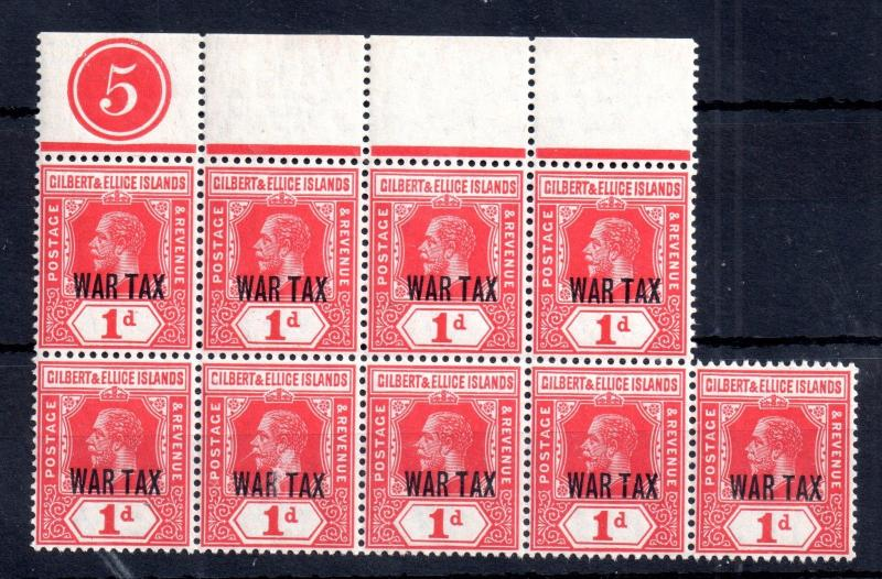 Gilbert & Ellice KGV 1d War Tax control 5 MNH block SG26 WS10313