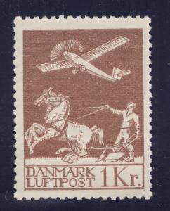 Denmark Sc C5 MNH. 1929 1k chocolate Airplane & Plower, fresh, F-VF. Horses