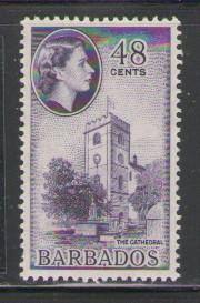 Barbados Sc 244 1956 48c Cathedral QE II stamp mint