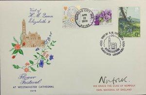 Hideaki Nakano Queen's Visit Westminster Flower Signed Duke Norfolk Queen Heart
