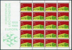 Liechtenstein 453 sheet,MNH.Michel 507 bogen. EUROPE CEPT-1969.CEPT 10th Ann.