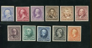 1890 United States Plate Proof Set On Card Stamps #219P4-229P4