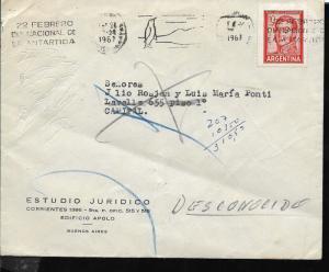 AANT-149 ARGENTINA 1967 ANTARTIDA DAY METER CANCELATION COVER RETURNED