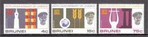 Brunei - Scott #128-130 - MNH - Gum toning spot #130 - SCV $5.00