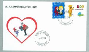 Denmark Cover. Postman # 35  Christmas Seals Walk 2011.. 8 Kr.. Santa,Candle.