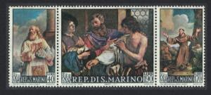 San Marino Paintings by Francesco Barbieri Guercino 3v Strip SG#822-824