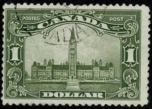 CANADA 1928-29 KG V 1$ OLIVE-GREEN (8.1.29) VFU SG285 Wmk.none P.12 VGC