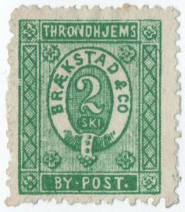 (I.B-CK) Norway Local Post : Trondheim 2sk (Braekstad & Co)