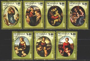 Nicaragua. 1983. 2433-39. 500 years of the artist Raphael, Madonna. USED.