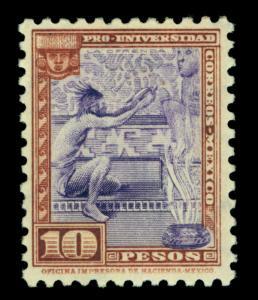 MEXICO 1934 Nat. University issue AZTECS /GODS  10pesos  Sc# 706 mint MNH XF  RR