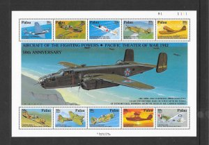 PALAU #C22  AIRCRAFT OF THE PACIFIC THEATER  MNH