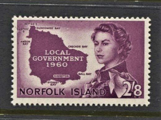 STAMP STATION PERTH Norfolk Island #42 QEII Map of Island MNH CV$16.00