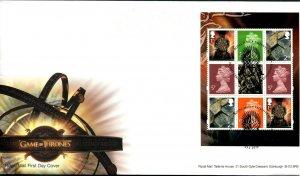 HERRICKSTAMP GREAT BRITAIN Sc.# BK219 Game of Thrones Booklet Pane FDC