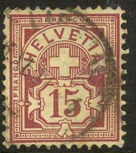 SWITZERLAND 1882-99 15c Violet Numeral Issue Sc 76 VFU