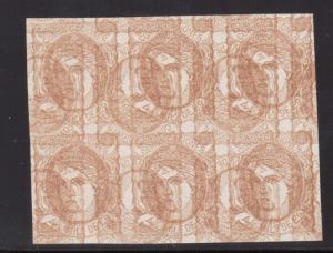 Spain #163 XF Mint Triple Impression & Imperforate Invert Block Of Six Variety