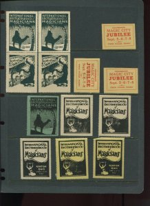 13 VINTAGE MAGIC Poster Stamps INTERNATIONAL BROTHERHOOD OF MAGICIANS (L1126)