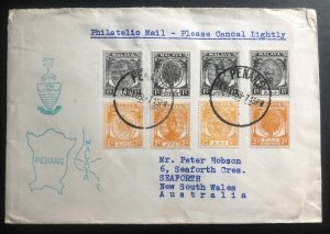 1958 Penang Malaya Philatelic Mail Cover To Seaforth NSW Australia