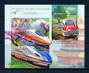 SAO TOME 2019  JAPANESE HIGH SPEED TRAINS  SOUVENIR SHEET MINT NEVER HINGED