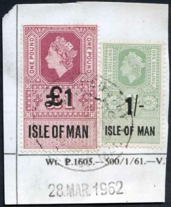 Isle of Man QEII One Pound and 1/-Key Plate Type Revenues CDS on Piece