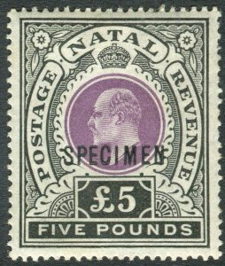 NATAL-1902 £5 Mauve & Black SPECIMEN OVERPRINT.  LMM example Sg 144s