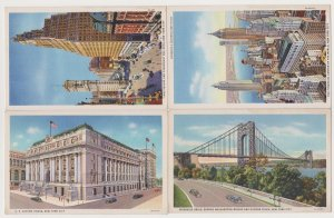 4 Different Unused Colortone New York City Postcards by Union News & Curt Teich