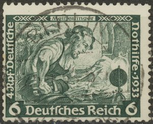 Stamp Germany Mi 502 Sc B52 1933 WWII Fascism Meinstersing Richard Wagner Used