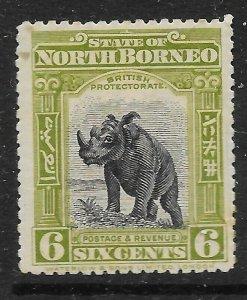 NORTH BORNEO SG167 1909 6c BLACK & OLIVE-GREEN MTD MINT