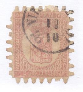 Finland Sc 5 1860 10 p rose rouletted stamp used