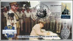 20-173, 2020, USS Missouri, Event Cover, Pictorial Postmark, WW II Surrender,