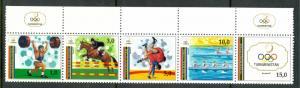 TURKMENISTAN 1992 BARCELONA SPAIN OLYMPICS Set in Strip Scott No. 22 MNH