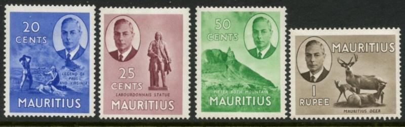 MAURITIUS Sc#242, 243, 245, 246 1950 KGVI Pictorials Middle Values Mint Hinged