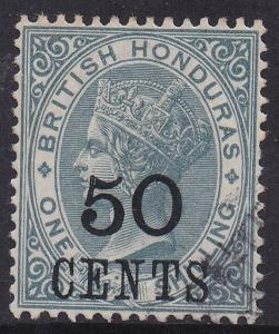 BRITISH HONDURAS 1888 QV 50C ON 1/- USED