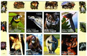 TIMOR (East) 1999 Wild Animals Sheet Perforated mnh.vf