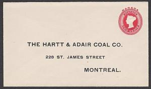 CANADA QV 2c envelope - printed Coal company address - unused..............57755