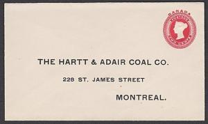 CANADA QV 2c envelope - printed Coal company address - unused..............57755