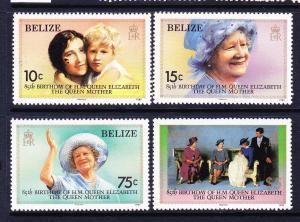 BELIZE  1985  QUEEN MOTHERS BRITHDAY SET 4 MNH
