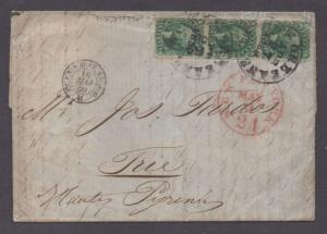 **US 19th Century Cover SC# 31, 32, 33 Strip of 3 on RARE Cover,1859, Encl