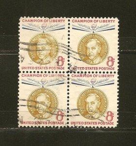 USA 1137 Ernst Reuter Block of 4 Used