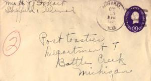 United States Illinois Mineral 1954 4f-bar  Postal Stationery Envelope  Bit r...