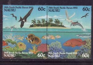 Nauru-Sc#405a-Unused NH set-South Pacific Forum-Birds-Fish-Dolphins-1993-