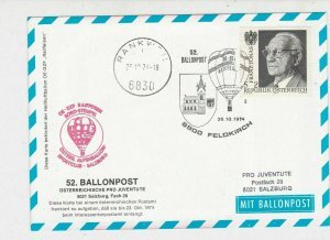 Austria 1974 Feldkirch Church Slogan Balloon Post Stationary Stamps Card Rf27538