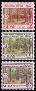 SUDAN Sc# 133 - 135 MH FVF Set of 3 Forest Trees
