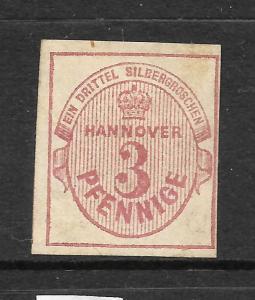 HANNOVER  1859-63  3pf  ROSE  IMPERF   MLH       Sc 16  SG 18