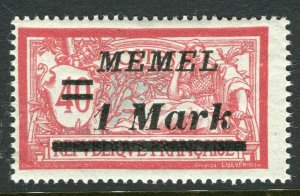 MEMEL; 1922 early surcharged issue Mint hinged 1M. value