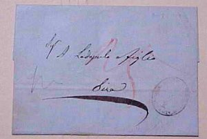 TURKEY   1854 STAMPLESS CONSTANTINOPLE B/S SIRA FUMIGATED?