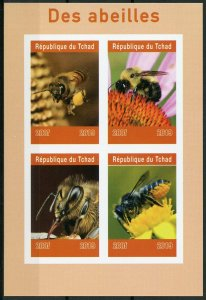 Chad 2019 MNH Bees 4v IMPF M/S Abeilles Insects Flowers Nature Bee Stamps