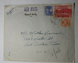 Burma Airmail Cover Used Sc# 157 139 142 1954