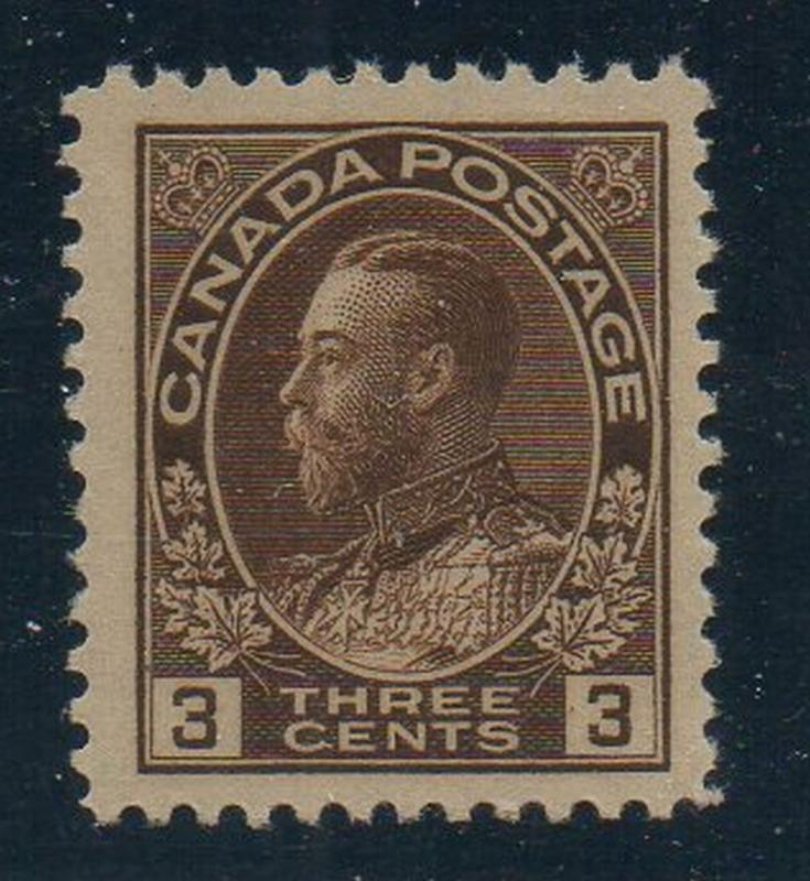 Canada Sc 108 1918 3c brown GV Admiral stamp mint NH